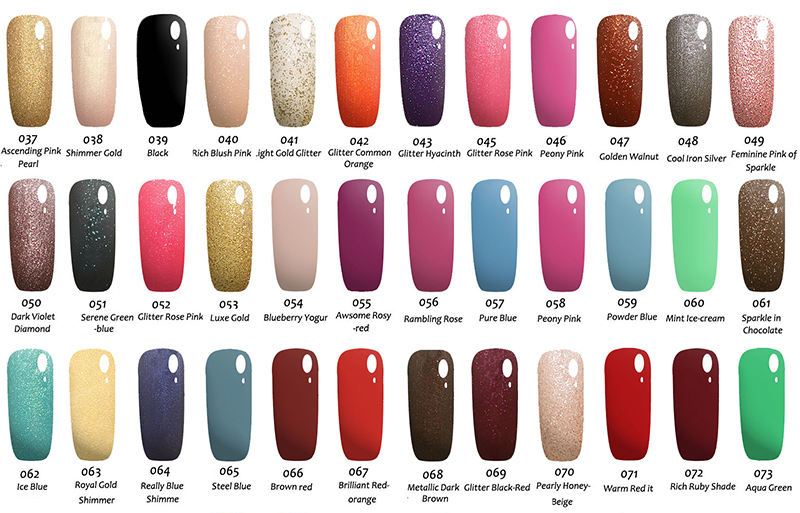 Nail Gel Polish Color Chart