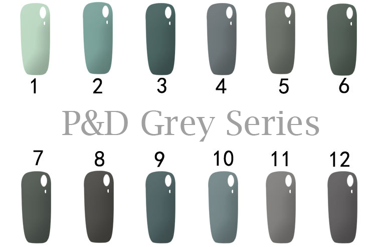 12 Grey Color Series Gel Nail Polish